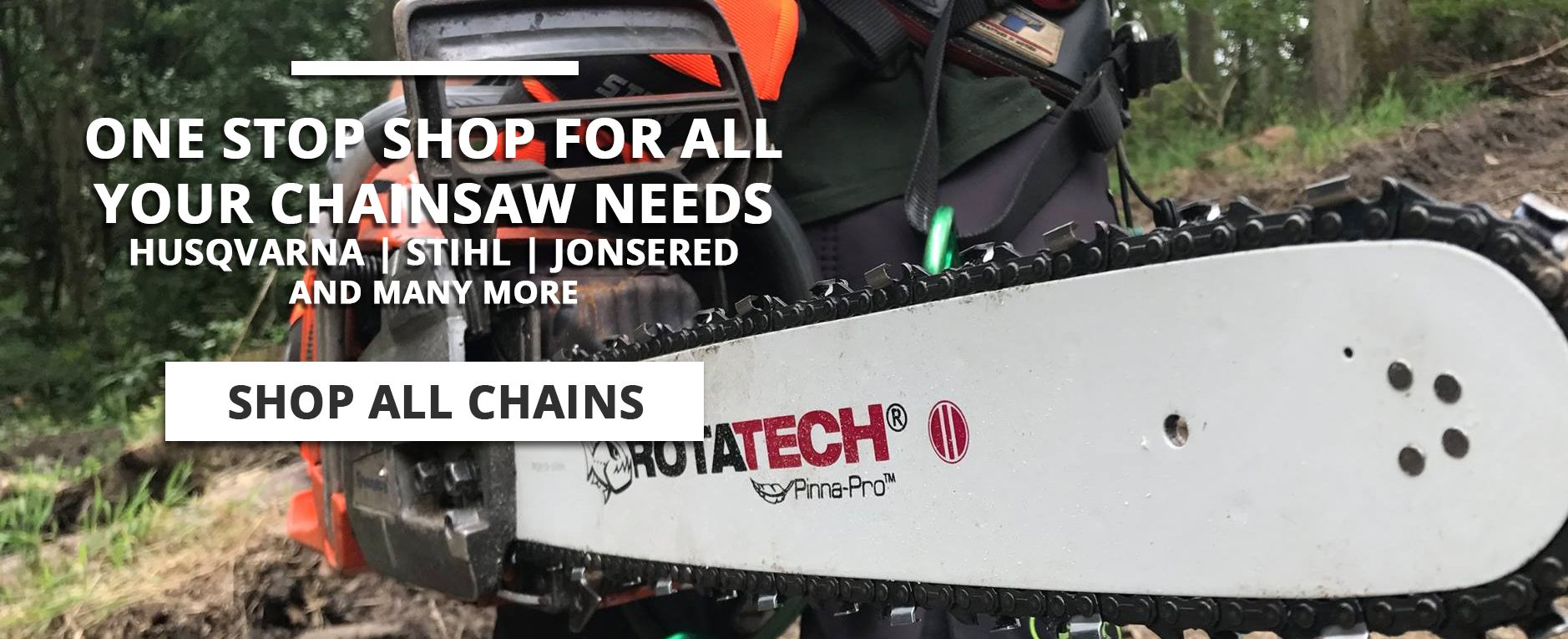 "GENUINE Rotatech 15/"" CHAINSAW CHAIN /& BAR PACK FITS JONSERED 2045"